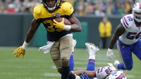 <p>               FILE - In this Sept. 30, 2018, file photo, Green Bay Packers' Aaron Jones runs for a first down during the first half of an NFL football game against the Buffalo Bills, in Green Bay, Wis.The Packers play the Detroit lions on Sunday. (AP Photo/Morry Gash, File)             </p>