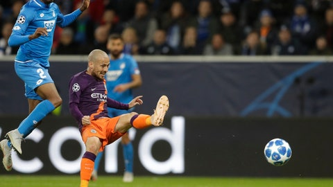 <p>               Manchester City midfielder David Silva scores his side's second goal during the group F Champions League soccer match between Hoffenheim and Manchester City at the Rhein-Neckar-Arena stadium in Sinsheim, Germany, Tuesday, Oct. 2, 2018. (AP Photo/Michael Probst)             </p>