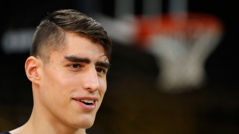 <p>               Iowa forward Luka Garza is interviewed during Iowa's NCAA college basketball media day, Monday, Oct. 8, 2018, in Iowa City, Iowa. (AP Photo/Charlie Neibergall)             </p>