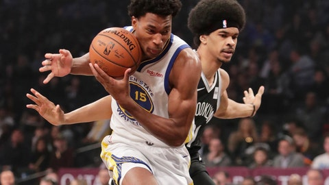 <p>               Golden State Warriors' Damian Jones (15) drives past Brooklyn Nets' Jarrett Allen, right, during the first half of an NBA basketball game Sunday, Oct. 28, 2018, in New York. (AP Photo/Frank Franklin II)             </p>