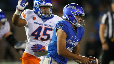 <p>               Air Force quarterback Isaiah Sanders runs for a short gain as Boise State defensive end Kayode Rufai pursues in the second half of an NCAA college football game Saturday, Oct. 27, 2018, at Air Force Academy, Colo. Boise State won 48-38. (AP Photo/David Zalubowski)             </p>