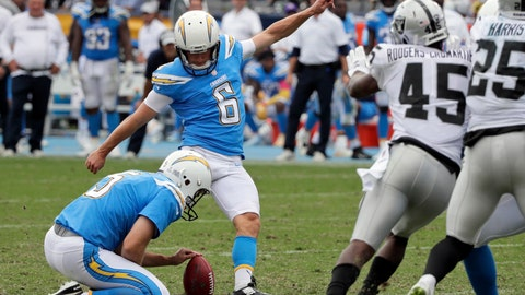 <p>               FILE - In this Sunday, Oct. 7, 2018, file photo, Los Angeles Chargers kicker Caleb Sturgis (6) kicks a field goal during the second half of an NFL football game against the Oakland Raiders, in Carson, Calif.  The Chargers might have to use their sixth kicker in 21 games on Sunday at Cleveland, after Sturgis revealed he had a strained quadriceps muscle. The Chargers signed rookie Michael Badgley as a potential replacement if Sturgis can't play. (AP Photo/Jae C. Hong, File)             </p>