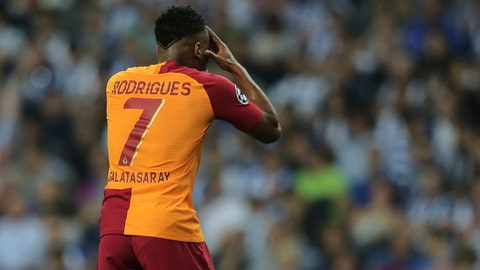 <p>               Galatasaray forward Garry Rodrigues reacts during the Champions League group D soccer match between FC Porto and Galatasaray at the Dragao stadium in Porto, Portugal, Wednesday, Oct. 3, 2018. (AP Photo/Manuel Araujo)             </p>