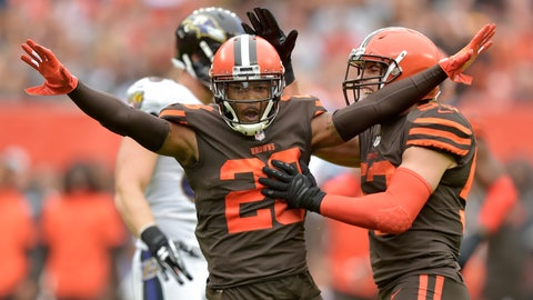<p>               FILE - In this Oct. 7, 2018, file photo, Cleveland Browns defensive back E.J. Gaines (28) celebrates after breaking up a pass during the first half of an NFL football game against the Baltimore Ravens, in Cleveland. Gaines has a concussion and will miss Sunday's game at Tampa Bay. Gaines practiced Wednesday but he showed concussion symptoms on Thursday, Oct. 18,  and was placed in league protocol. (AP Photo/David Richard, File)             </p>