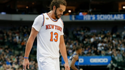 <p>               FILE - In this Jan. 25, 2017, file photo, New York Knicks' Joakim Noah (13) walks to the bench during a time out in the second half of an NBA basketball game against the Dallas Mavericks in Dallas. Noah's disappointing Knicks career is over after just two seasons. Unable to find a trade, the Knicks waived the center Saturday, Oct. 13, 2018, with two years and $37.8 million remaining on his contract. (AP Photo/Tony Gutierrez, File)             </p>