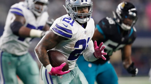 <p>               FILE - In this Oct. 14, 2018, file photo, Dallas Cowboys running back Ezekiel Elliott (21) carries past Jacksonville Jaguars defensive end Dante Fowler (56) into the end zone for a touchdown in the second half of an NFL football game, in Arlington, Texas. After having one the worst run defense in the NFL last season, the Washington Redskins have improved in that area enough that they go into a matchup against the Dallas Cowboys feeling confident they can contain Ezekiel Elliott and Dak Prescott.  (AP Photo/Jim Cowsert, File)             </p>