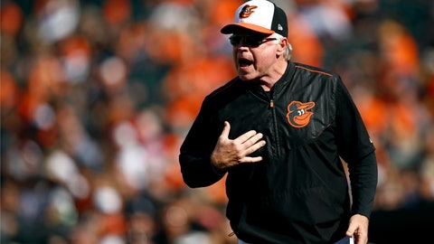 <p>               Baltimore Orioles manager Buck Showalter protests a call in the third inning of a baseball game against the Houston Astros, Sunday, Sept. 30, 2018, in Baltimore. (AP Photo/Patrick Semansky)             </p>