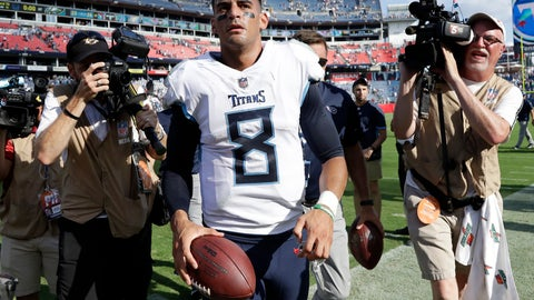 <p>               Tennessee Titans quarterback Marcus Mariota leaves the field after the Titans beat the Philadelphia Eagles in overtime of an NFL football game Sunday, Sept. 30, 2018, in Nashville, Tenn. The Titans won 26-23. (AP Photo/James Kenney)             </p>