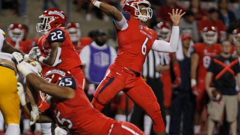 <p>               Fresno State quarterback Marcus McMaryion throws a pass against Wyoming during the first half of an NCAA college football game in Fresno, Calif., Saturday, Oct. 13, 2018. (AP Photo/Gary Kazanjian)             </p>