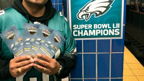<p>               In this October 2018 photo provided by Matt Liston, Philadelphia Eagles fan Jigar Desai poses with tickets to an Oct. 28 football game between the Eagles and the Jacksonville Jaguars in front of the subway pillar he ran into earlier this year at Ellsworth Station on the Broad Street subway line in Philadelphia. The moment in the spotlight isn't over yet for Desai who stumbled into fame as a viral video star after running into the subway pillar. Desai is now the subject of an NFL digital short feature, shot ahead of the Oct. 28 Eagles game against the Jacksonville Jaguars in London. (Matt Liston via AP)             </p>