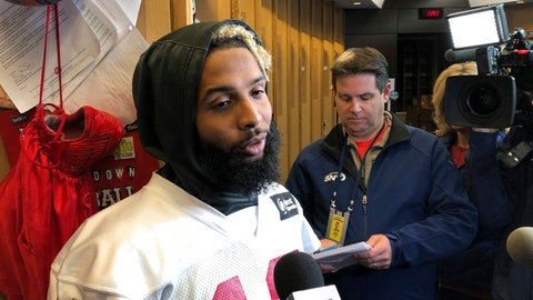 <p>               New York Giants wide receiver Odell Beckham Jr., speaks with reporters inside the NFL football team's locker room, Friday, Oct. 19, 2018, in East Rutherford, N.J. The Giants face the Atlanta Falcons on Monday night in Atlanta. (AP Photo/Tom Canavan)             </p>