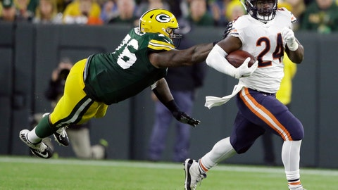 <p>               FILE - In this Sept. 9, 2018, file photo, Chicago Bears' Jordan Howard, right, runs past Green Bay Packers' Mike Daniels during the second half of an NFL football game in Green Bay, Wis. Chicago Bears coach Matt Nagy insisted Howard remains a big part of Chicago's offense and the star running back was adamant he was not frustrated despite a limited role in the team's most recent victory. (AP Photo/Jeffrey Phelps, File)             </p>