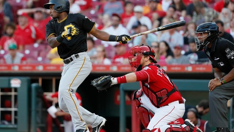 <p>               Pittsburgh Pirates' Pablo Reyes hits a double off Cincinnati Reds relief pitcher Jackson Stephens in the 10th inning of a baseball game, Sunday, Sept. 30, 2018, in Cincinnati. (AP Photo/John Minchillo)             </p>