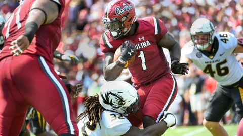 <p>               South Carolina wide receiver Deebo Samuel (1) runs with the ball against Missouri linebacker Nick Bolton (32) during the first half of an NCAA college football game Saturday, Oct. 6, 2018, in Columbia, S.C. (AP Photo/Sean Rayford)             </p>