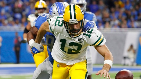 <p>               Green Bay Packers quarterback Aaron Rodgers (12) is sacked by Detroit Lions defensive end Romeo Okwara during the first half of an NFL football game, Sunday, Oct. 7, 2018, in Detroit. (AP Photo/Paul Sancya)             </p>
