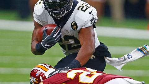 <p>               New Orleans Saints running back Mark Ingram (22) carries against Washington Redskins cornerback Josh Norman (24) in the first half of an NFL football game in New Orleans, Monday, Oct. 8, 2018. (AP Photo/Butch Dill)             </p>