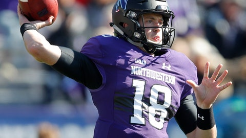 <p>               Northwestern's Clayton Thorson throws a pass against Nebraska during the first half of an NCAA college football game Saturday, Oct. 13, 2018, in Evanston, Ill. (AP Photo/Jim Young)             </p>