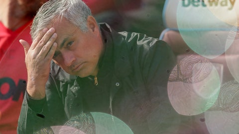 <p>               Manchester United manager Jose Mourinho, seen through foam bubbles, wipes his forehead prior the English Premier League soccer match between West Ham United and Manchester United at London Stadium in London in London, England, Saturday, Sept. 29, 2018. (AP Photo/Tim Ireland)             </p>