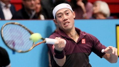 <p>               Japan's Kei Nishikori returns the ball to Mikhail Kukushkin of Kazakhstan during their semifinal match at the Erste Bank Open tennis tournament in Vienna, Austria, Saturday, Oct. 27, 2018. (AP Photo/Ronald Zak)             </p>