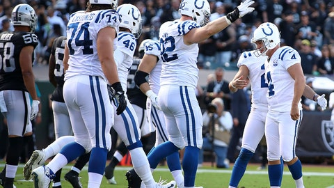<p>               Indianapolis Colts kicker Adam Vinatieri, right, is congratulated by teammates after kicking a field goal against the Oakland Raiders during the first half of an NFL football game in Oakland, Calif., Sunday, Oct. 28, 2018. Vinatieri surpassed Morten Andersen's NFL record for points with this kick. (AP Photo/Ben Margot)             </p>