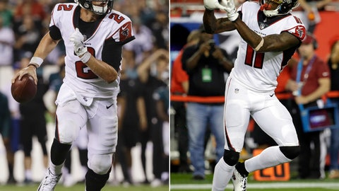 <p>               FILE - At left, in a Sept. 6, 2018, file photo, Atlanta Falcons quarterback Matt Ryan (2) looks to pass against the Philadelphia Eagles during an NFL football game in Philadelphia. At right, in a Dec. 18, 2017, file photo, Atlanta Falcons wide receiver Julio Jones (11) warms up before an NFL football game against the Tampa Bay Buccaneers, in Tampa, Fla.  Expected to be playoff contenders, Atlanta (1-3) and Pittsburgh (1-2-1) are reeling a month into the season thanks to injuries and poor defensive play, leaving the door open for a shootout between Steelers quarterback Ben Roethlisberger and counterpart Matt Ryan. (AP PhotoFile)             </p>