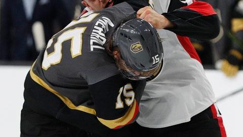 <p>               Vegas Golden Knights defenseman Jon Merrill (15) fights with Ottawa Senators defenseman Mark Borowiecki (74) during the first period of an NHL hockey game Sunday, Oct. 28, 2018, in Las Vegas. (AP Photo/John Locher)             </p>