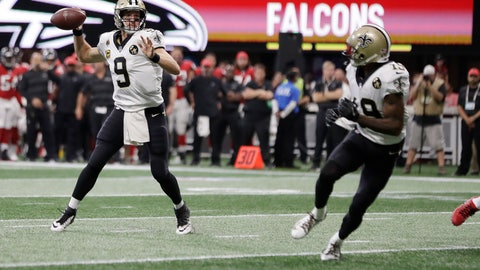<p>               FILE - In this Sept. 23, 2018, file photo, New Orleans Saints quarterback Drew Brees (9) works against the Atlanta Falcons during the first half of an NFL football game in Atlanta. Brees could become the NFL's all-time yards passing leader when the Saints host the Washington Redskins on Monday night. Brees is 201 yards short of eclipsing Peyton Manning's record 71,940 yards passing. (AP Photo/Mark Humphrey, File)             </p>