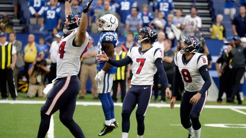 <p>               Houston Texans kicker Ka'imi Fairbairn (7) watches his game winning field goal during overtime of an NFL football game against the Indianapolis Colts, Sunday, Sept. 30, 2018, in Indianapolis. Houston won 37-34. (AP Photo/Michael Conroy)             </p>