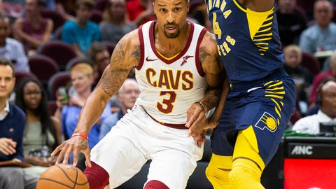 <p>               Cleveland Cavaliers guard George Hill (3) dribbles around Indiana Pacers guard Victor Oladipo (4) during the first quarter of an NBA preseason basketball game, Monday, Oct. 8, 2018, in Cleveland. (AP Photo/Scott R. Galvin).             </p>
