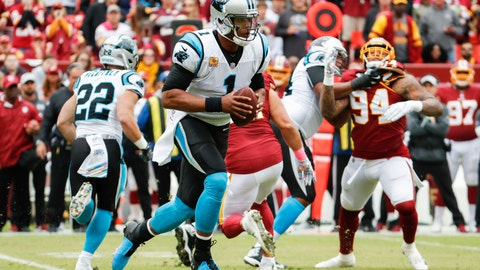 <p>               Carolina Panthers quarterback Cam Newton (1) scrambles with the ball during the first half of an NFL football game against the Washington Redskins, Sunday, Oct. 14, 2018, in Landover, Md. (AP Photo/Pablo Martinez Monsivais)             </p>
