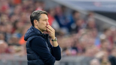 <p>               Bayern head coach Niko Kovac watches the German soccer Bundesliga match between Bauern Munich and Borussia Moenchengladbach in Munich, southern Germany, Saturday, Oct. 6, 2018. (Matthias Balk/dpa via AP)             </p>