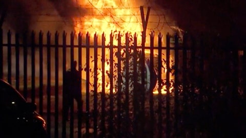 <p>               This image made from video shows a burning helicopter in a parking lot outside the King Power Stadium in Leicester, England shortly after a Premier League game on Saturday, Oct. 27, 2018. (Pool Photo via AP)             </p>