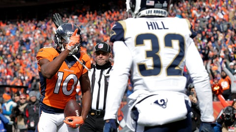 <p>               Denver Broncos wide receiver Emmanuel Sanders (10) taunts Los Angeles Rams cornerback Troy Hill (32) for a penalty during the first half of an NFL football game, Sunday, Oct. 14, 2018, in Denver. (AP Photo/Joe Mahoney)             </p>