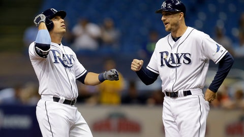 <p>               FILE - In this April 8, 2015, file photo, Tampa Bay Rays' Asdrubal Cabrera, left, celebrates with first base coach Rocco Baldelli after singling off Baltimore Orioles starting pitcher Miguel Gonzalez during the first inning of a baseball game, in St. Petersburg, Fla. Two people with knowledge of the decision tell The Associated Press that the Minnesota Twins have hired Tampa Bay Rays assistant coach Rocco Baldelli as their new manager. The 37-year-old Baldelli replaces Paul Molitor, who was fired after four seasons with a 305-343 record. The sources spoke to The AP on Thursday, Oct. 25, 2018, on condition of anonymity, because the Twins had not yet made the announcement about Baldelli, who spent the last four years on the staff of Rays manager Kevin Cash. (AP Photo/Chris O'Meara, File)             </p>