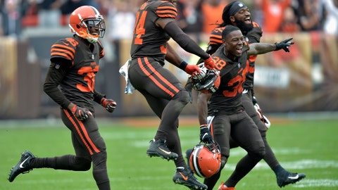 <p>               Cleveland Browns players celebrate after they defeated the Baltimore Ravens during overtime in an NFL football game, Sunday, Oct. 7, 2018, in Cleveland. (AP Photo/David Richard)             </p>