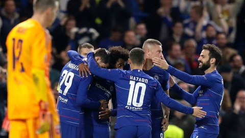 <p>               Chelsea players celebrate after scoring the opening goal during the Europa League group L soccer match between Chelsea and Vidi FC at Stamford Bridge stadium in London, Thursday, Oct. 4, 2018. (AP Photo/Matt Dunham)             </p>