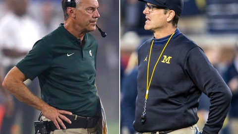 <p>               FILE - At left, in a Sept. 8, 2018, file photo, Michigan State head coach Mark Dantonio watches his team during the first half of an NCAA college football game against Arizona State, in Tempe, Ariz. At right, in an Oct. 13, 2018, file photo, Michigan head coach Jim Harbaugh is shown during an NCAA college football game against Wisconsin, in Ann Arbor, Mich. No. 6 Michigan plays at No. 24 Michigan State on Saturday. (AP Photo/File)             </p>