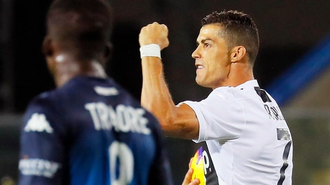 <p>               Juventus' Cristiano Ronaldo celebrates after scoring his side's opening goal, during the Serie A soccer match between Empoli and Juventus at the Carlo Castellani stadium in Empoli, Italy, Saturday, Oct. 27,  2018. (Fabio Muzzi/ANSA via AP)             </p>