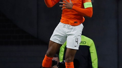 <p>               Netherland's Virgil Van Dijk celebrates after scoring the opening goal during the UEFA Nations League soccer match between The Netherlands and Germany at the Johan Cruyff ArenA in Amsterdam, Saturday, Oct. 13, 2018. (AP Photo/Peter Dejong)             </p>