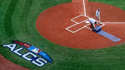 <p>               Grounds crew workers prepare the field prior to a workout at Fenway Park, Friday, Oct. 12, 2018, in Boston. The Red Sox face the Houston Astros in Game 1 of baseball's American League Championship on Saturday. (AP Photo/Charles Krupa)             </p>