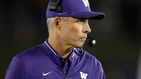 <p>               Washington coach Chris Petersen watches from the sideline as his team plays UCLA during the second half of an NCAA college football game Saturday, Oct. 6, 2018, in Pasadena, Calif. (AP Photo/Marcio Jose Sanchez)             </p>