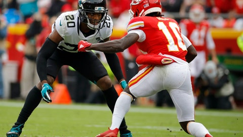 """<p>               FILE - In this Sunday, Oct. 7, 2018, file photo, Jacksonville Jaguars cornerback Jalen Ramsey (20) covers Kansas City Chiefs wide receiver Tyreek Hill (10) during the second half of an NFL football game in Kansas City, Mo. In a radio interview Wednesday, New England Patriots cornerback Stephon Gilmore's took a shot at the Ramsey by saying """"a lot of people can talk, but you've got to back it up, which he does. Sometimes."""" Ramsey fired back Thursday, saying """"we know that's furthest from the truth."""" Ramsey is widely considered the best cornerback in the NFL, a defender who usually plays press coverage and usually follows the opponent's best receiver all over the field.  (AP Photo/Charlie Riedel< File)             </p>"""
