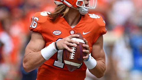 <p>               Clemson quarterback Trevor Lawrence drops back to pass during the first half of an NCAA college football game against Syracuse, Saturday, Sept. 29, 2018, in Clemson, S.C. Clemson won 27-23. (AP Photo/Richard Shiro)             </p>