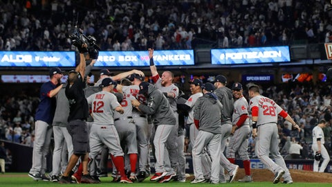<p>               The Boston Red Sox celebrate after beating the New York Yankees 4-3 in Game 4 of baseball's American League Division Series, Tuesday, Oct. 9, 2018, in New York. (AP Photo/Julie Jacobson)             </p>
