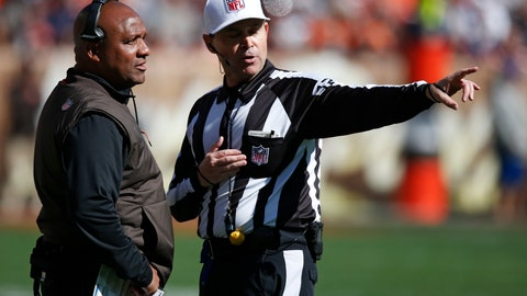 <p>               Cleveland Browns head coach Hue Jackson, left, talks with referee Brad Allen in the first half during an NFL football game against the Los Angeles Chargers, Sunday, Oct. 14, 2018, in Cleveland. (AP Photo/Ron Schwane)             </p>