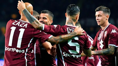 <p>               Torino's Tomas Rincon, third from left, face to the camera, celebrates  with his teammates after scoring during the Italian Serie A soccer match between Torino and Frosinone at  Calcio at the Olimpico Grande Torino  stadium in Turin, Italy,  Friday, Oct. 5, 2018. (Alessandro Di Marco/ANSA via AP)             </p>