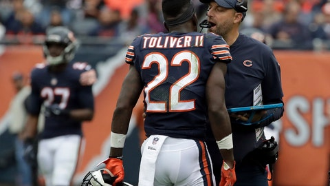 <p>               Chicago Bears head coach Matt Nagy talks to defensive back Kevin Toliver (22) during the first half of an NFL football game against the Tampa Bay Buccaneers Sunday, Sept. 30, 2018, in Chicago. (AP Photo/Nam Y. Huh)             </p>