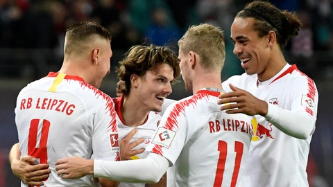 <p>               Leipzig's Marcel Sabitzer, 2nd left, celebrates after scoring his side's 5th goal together with his teammates during the German first division Bundesliga soccer match between RB Leipzig and 1. FC Nuremberg in Leipzig, Germany, Sunday, Oct. 7, 2018. (AP Photo/Jens Meyer)             </p>