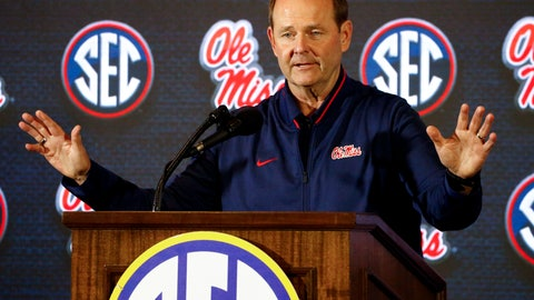 <p>               Mississippi coach Kermit Davis speaks during the Southeastern Conference men's NCAA college basketball media day, Wednesday, Oct. 17, 2018, in Birmingham, Ala. (AP Photo/Butch Dill)             </p>