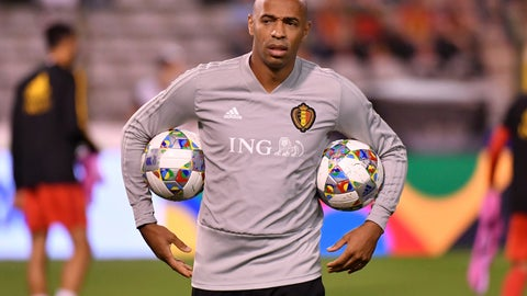 <p>               Belgium assistant coach Thierry Henry holds two balls during a warm up prior the UEFA Nations League soccer match between Belgium and Switzerland at the King Baudouin stadium in Brussels, Friday, Oct. 12, 2018. (AP Photo/Geert Vanden Wijngaert)             </p>